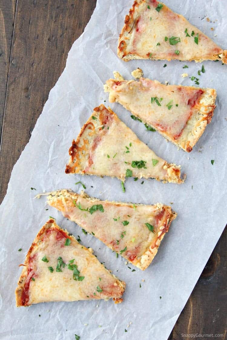 Slices of pizza with almond flour pizza crust