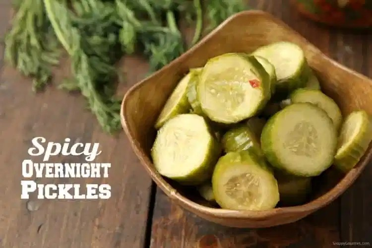 Spicy Pickle Recipe - how to make overnight homemade spicy dill pickles