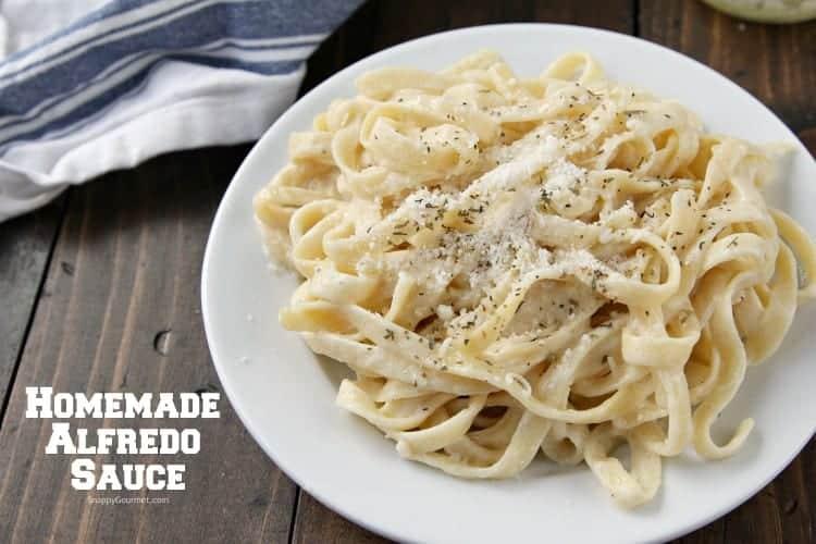 simple homemade alfredo sauce on pasta