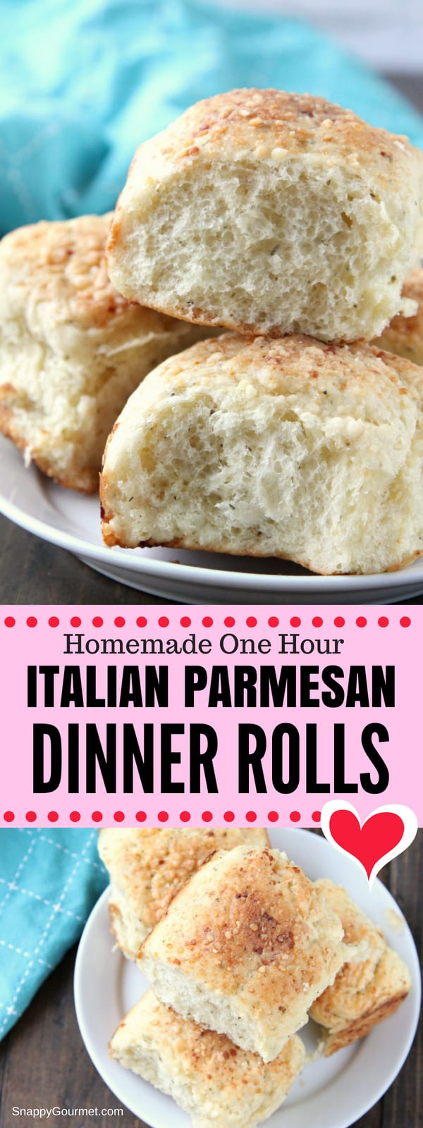 Dinner Rolls, quick and easy Italian Parmesan roll recipe that is ready in one hour! Learn how to make dinner rolls from scratch. These one hour dinner rolls come out soft and fluffy for the best homemade dinner rolls ever! #Rolls #Bread #Italian #SnappyGourmet #Recipe  #Parmesan #Homemade #Easy #Foodgasm