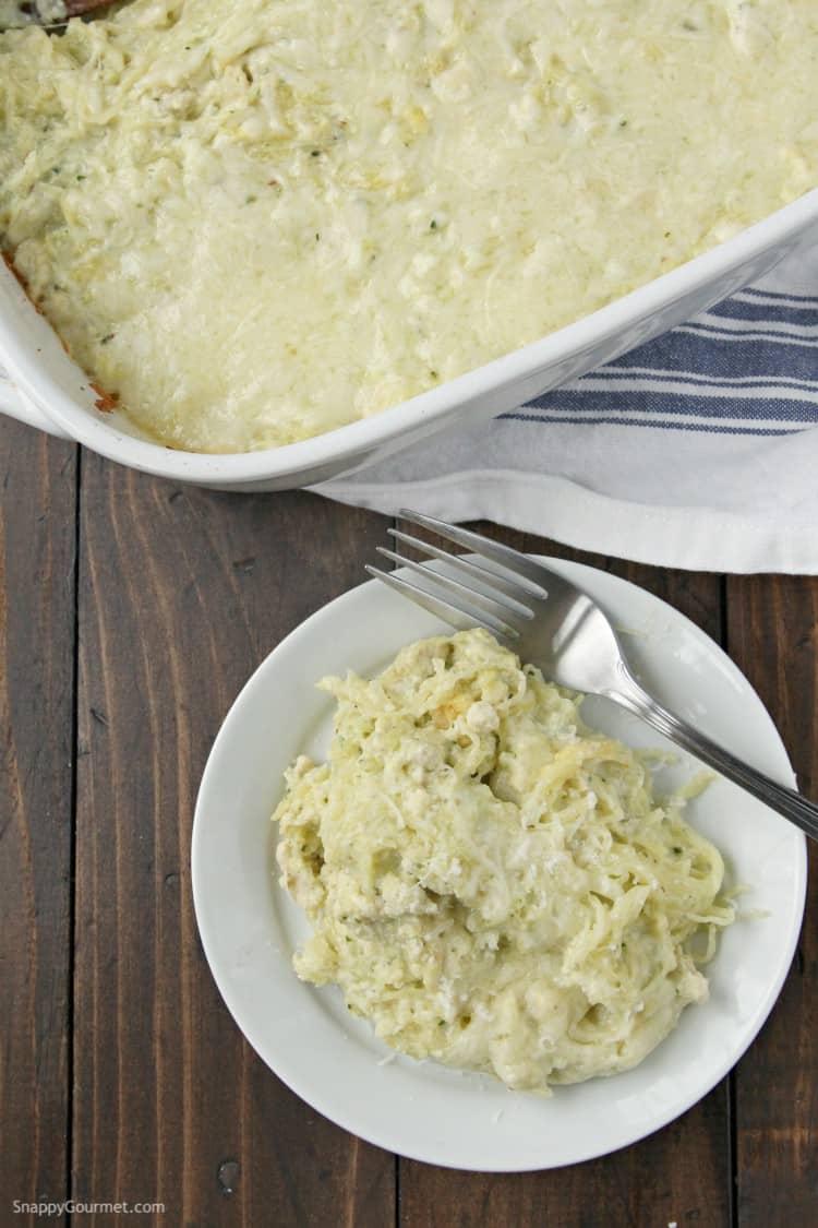 Pesto Alfredo Spaghetti Squash Casserole Recipe - low carb baked casserole with chicken