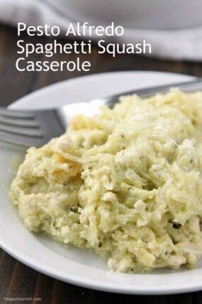 Pesto Alfredo Spaghetti Squash Casserole Recipe - spaghetti squash chicken alfredo with pesto. Delicious baked casserole!
