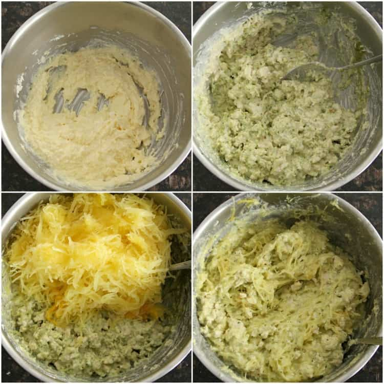 Pesto Alfredo Spaghetti Squash Casserole Recipe - with spaghetti squash, alfredo sauce, and pesto