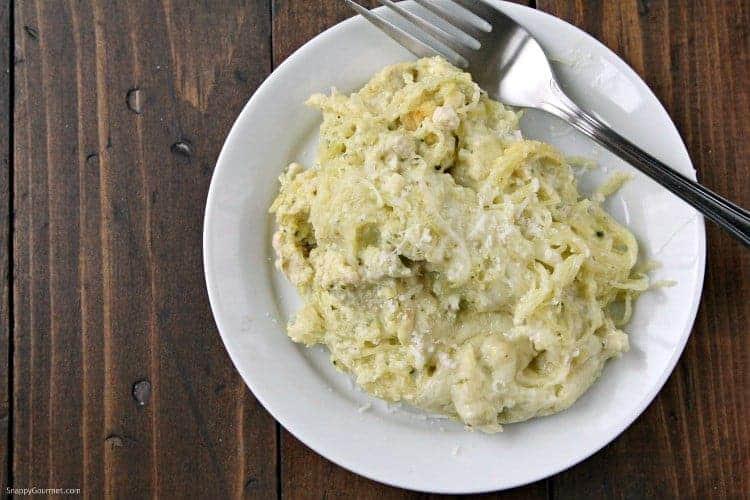 Pesto Alfredo Spaghetti Squash Casserole Recipe - family friendly baked casserole with chicken
