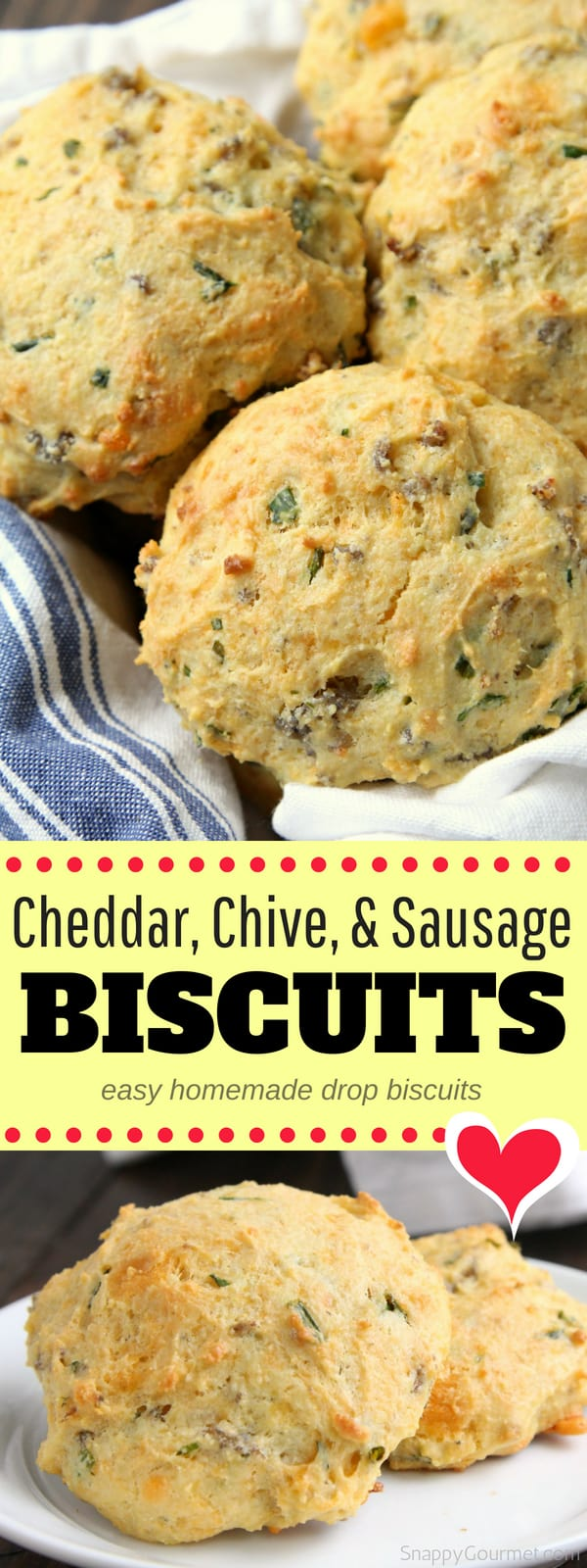 Homemade Cheddar, Chive, and Sausage Biscuits, simple biscuit recipe for easy drop biscuits. So delicious and loaded with breakfast sausage, shredded cheddar cheese, and chives. These quick biscuits from scratch are great for a hearty breakfast or brunch!