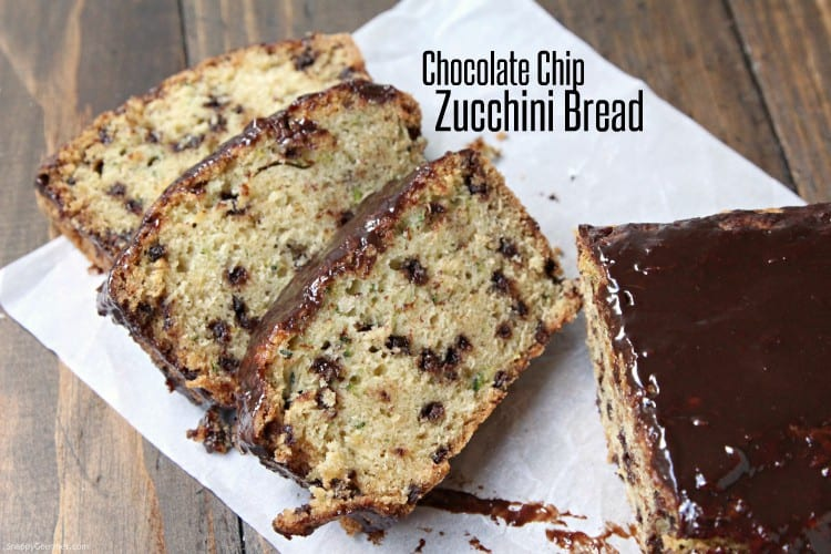 Chocolate Chip Zucchini Bread - moist zucchini bread with chocolate chips