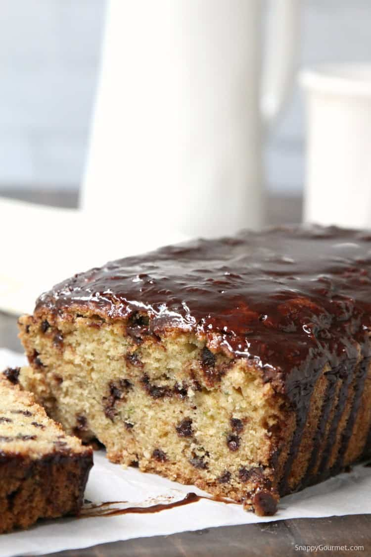 Chocolate Chip Zucchini Bread - homemade zucchini bread that is moist and loaded with chocolate chips