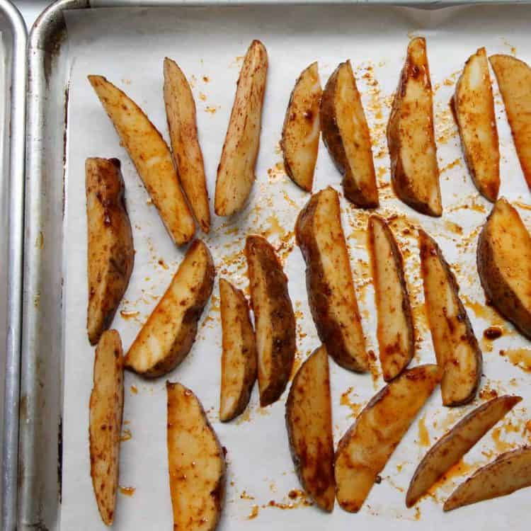 Oven Baked Potato Wedges - how to make potato wedges on baking sheets in oven