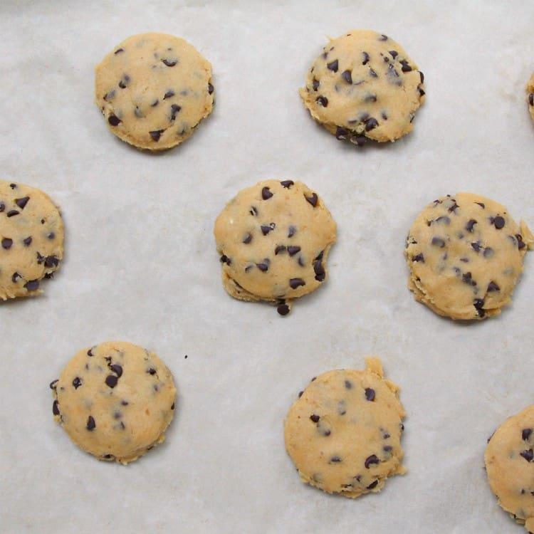 Pumpkin Chocolate Chip Cookies - scooping cookies on pan