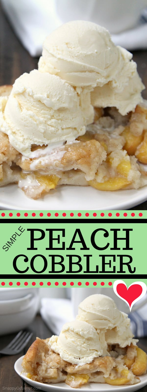 Simple Peach Cobbler recipe - how to make an easy homemade peach cobbler with fresh peaches