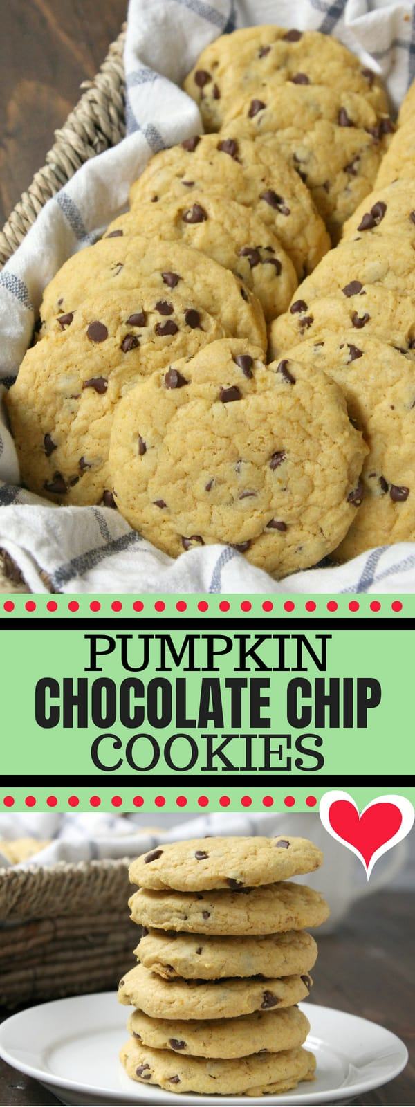 Pumpkin Chocolate Chip Cookies - easy from scratch pumpkin cookie recipe with chocolate chips. These cookies are soft and chewy and perfect for fall! #Pumpkin #Cookie #ChocolateChip #SnappyGourmet #Recipe #Cookies #PumpkinSpice #Fall #Baking #Dessert #PumpkinChocolateChip