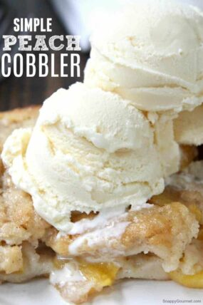 Simple Peach Cobbler - quick and easy from scratch peach cobbler recipe with fresh peaches