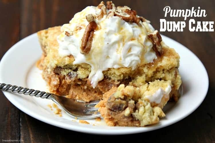 Pumpkin Dump Cake - easy fall pumpkin dessert topped with whipped cream, caramel, and nuts