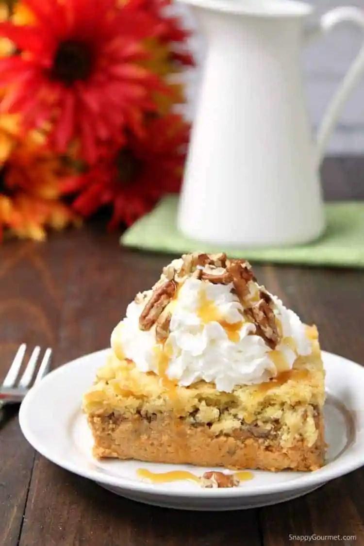 Pumpkin Dump Cake - easy pumpkin recipe that is a cross between cake and pie