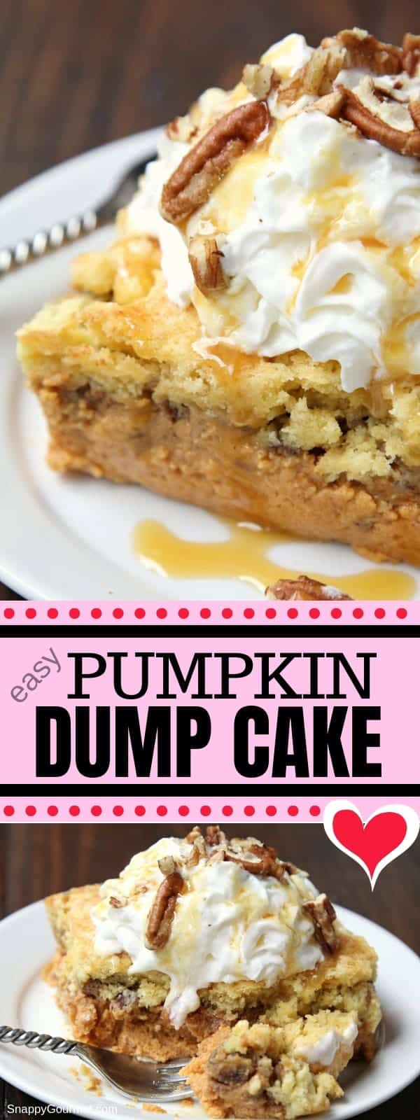 Pumpkin Dump Cake - an easy dump cake recipe that is a cross between pumpkin pie and pumpkin crunch cake