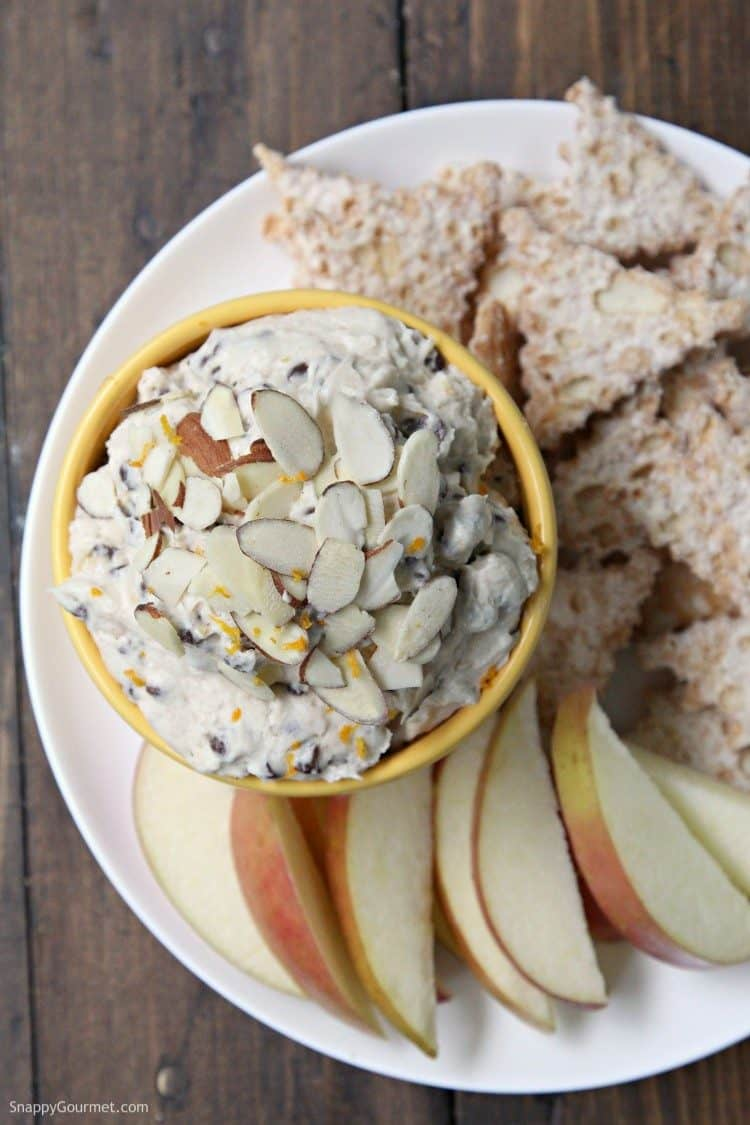 Cannoli Dip (Orange Almond) - cannoli chips and dip! Homemade cannoli dip with cannoli chips, apples and other dippers.