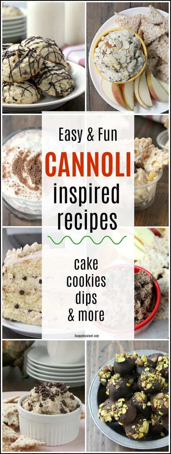 Cannoli Recipes - list of fun cannoli inspired recipes including cake, cookies, dips, candy, and more