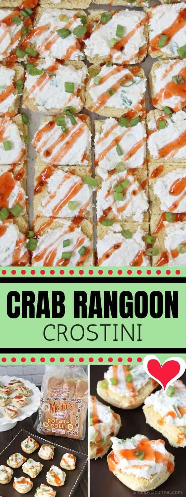 Crab Rangoon Crostini collage pin
