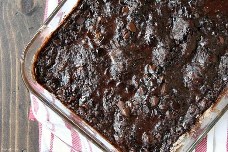chocolate dump cake in pan