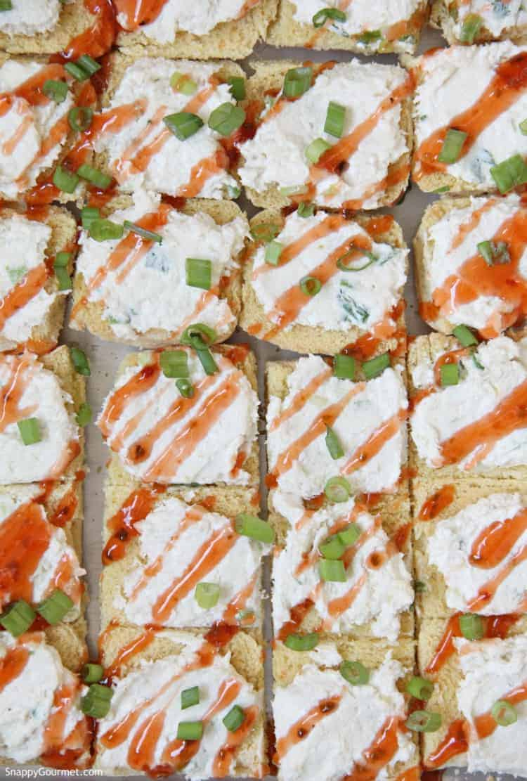 Crab Rangoon Crostini on baking sheet