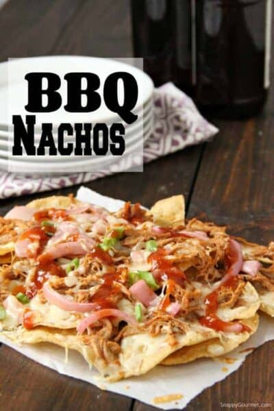 BBQ Nachos after baked in oven on table