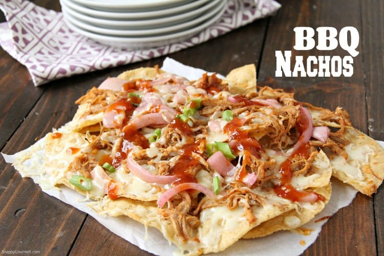 BBQ Nachos with pork and onions