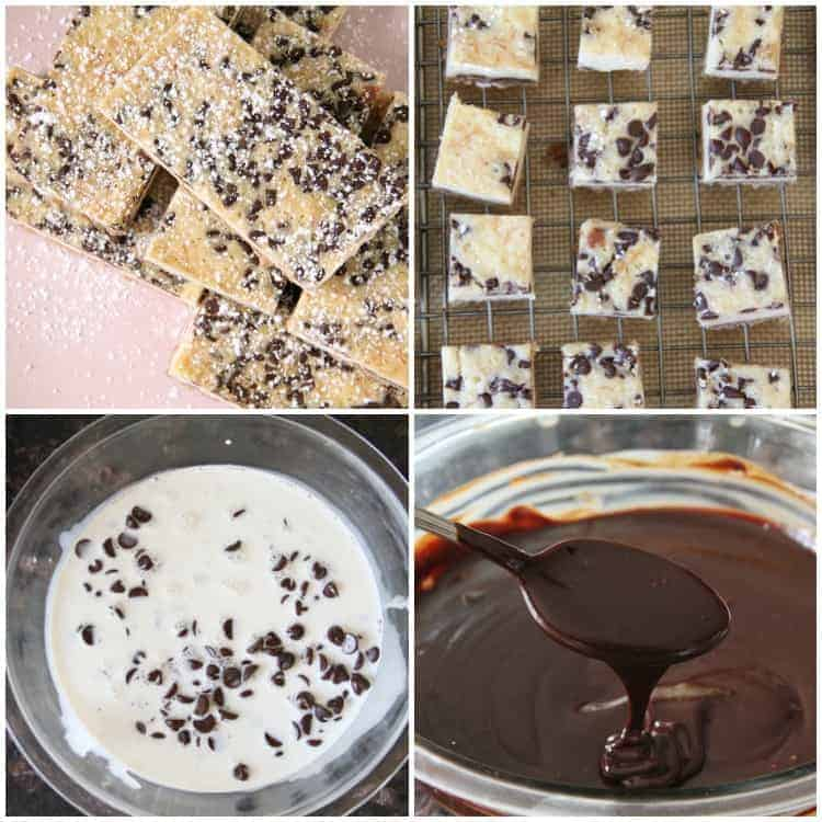 Cannoli Cheesecake Bites collage with chocolate