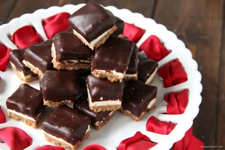 Cannoli Cheesecake Bites on plate