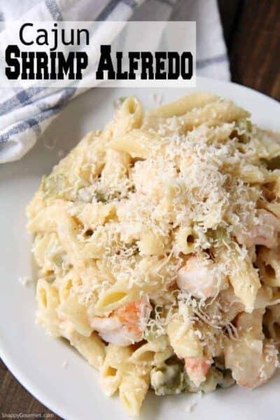 Cajun Shrimp Alfredo pasta on plate with towel