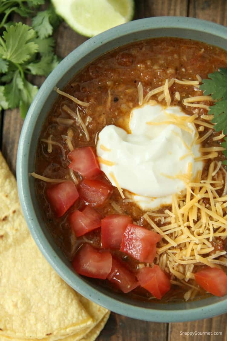 Chicken Tortilla Soup in bowl