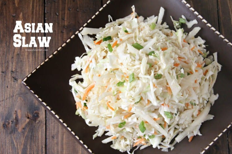 Asian slaw on brown plate