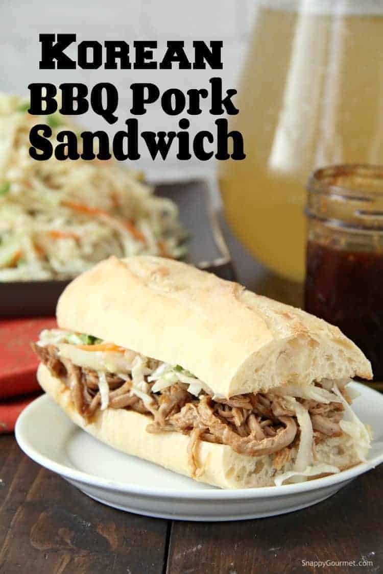Korean BBQ Pork Sandwich on plate with Asian slaw