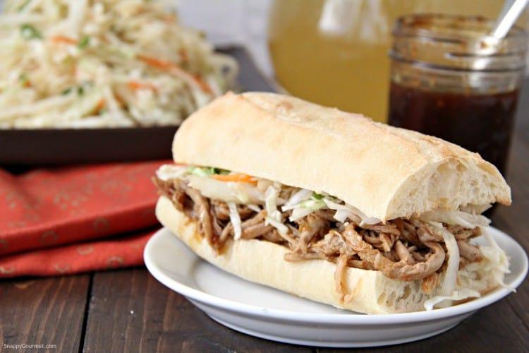 Korean BBQ Pork Sandwich sideview on plate