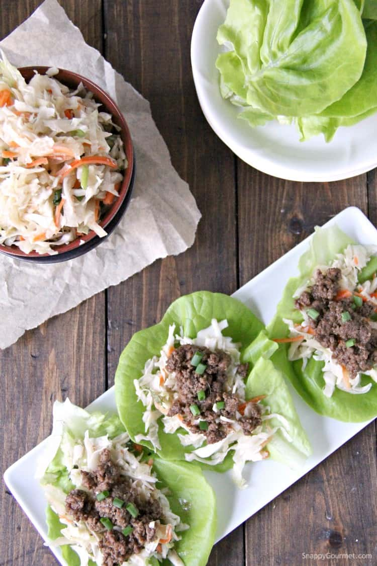 Korean Lettuce Wraps with BBQ Beef and Asian Slaw on plates