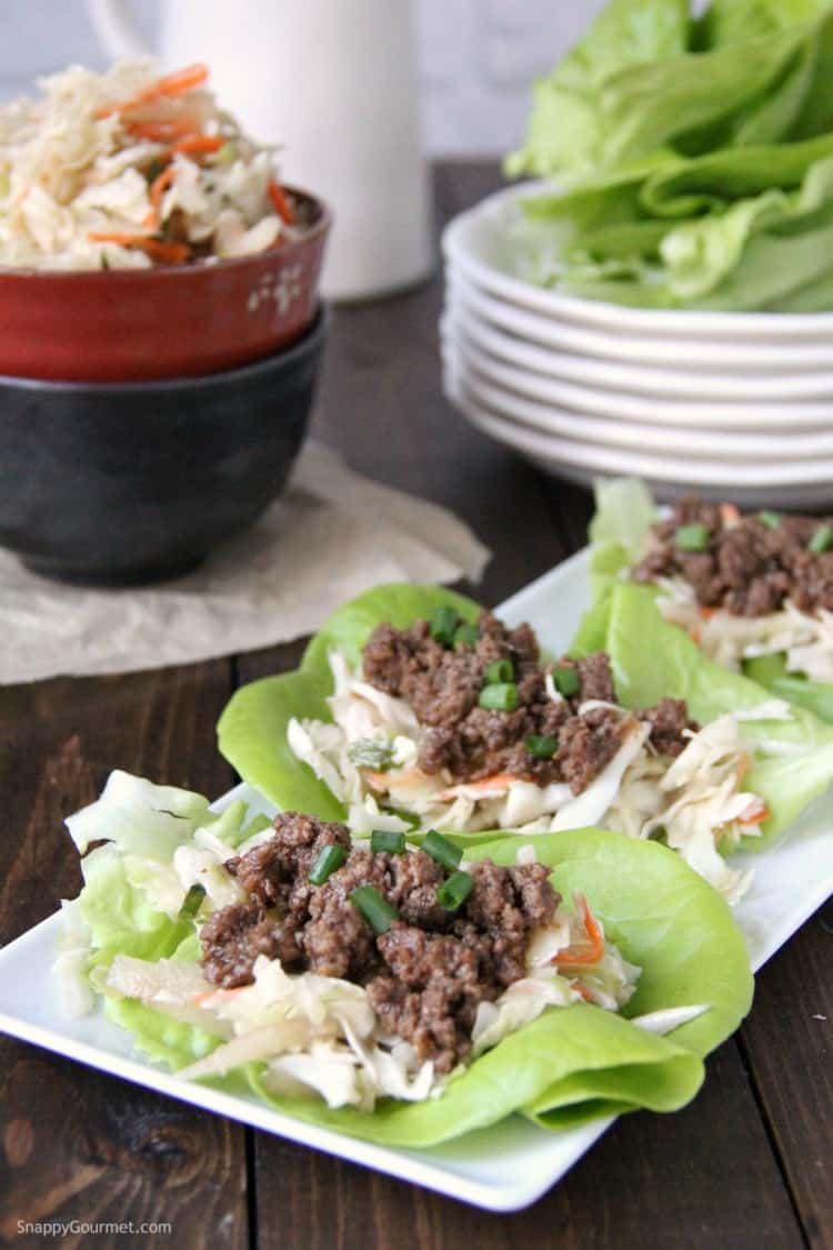 Korean Lettuce Wraps with BBQ Beef assembled on plates