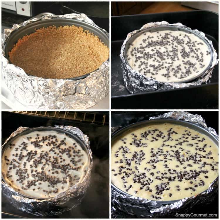 collage of steps of making cheesecake