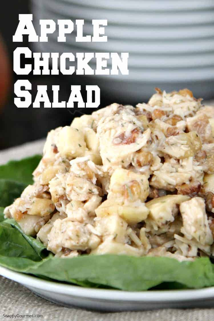 chicken salad with apple on lettuce