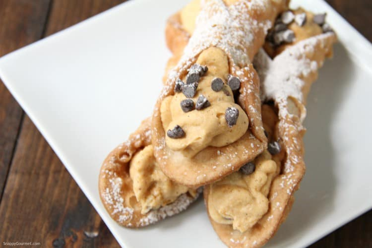 pumpkin cannoli with pumpkin cream filling and mini chocolate chips