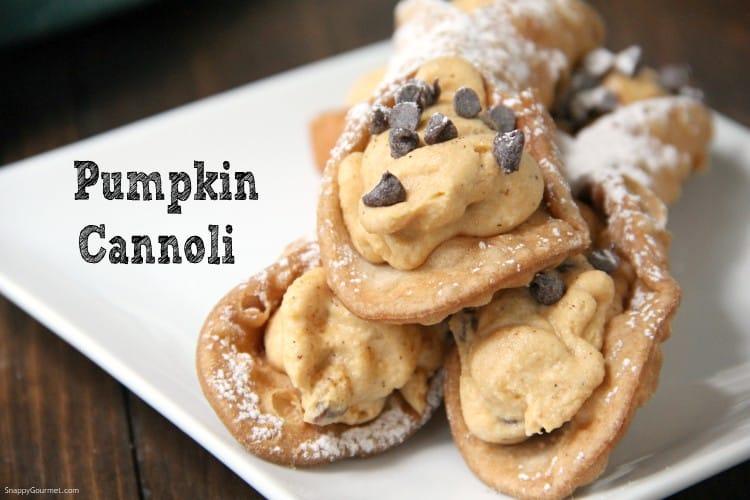 pumpkin cannoli with pumpkin cannoli cream filling and mini chocolate chips