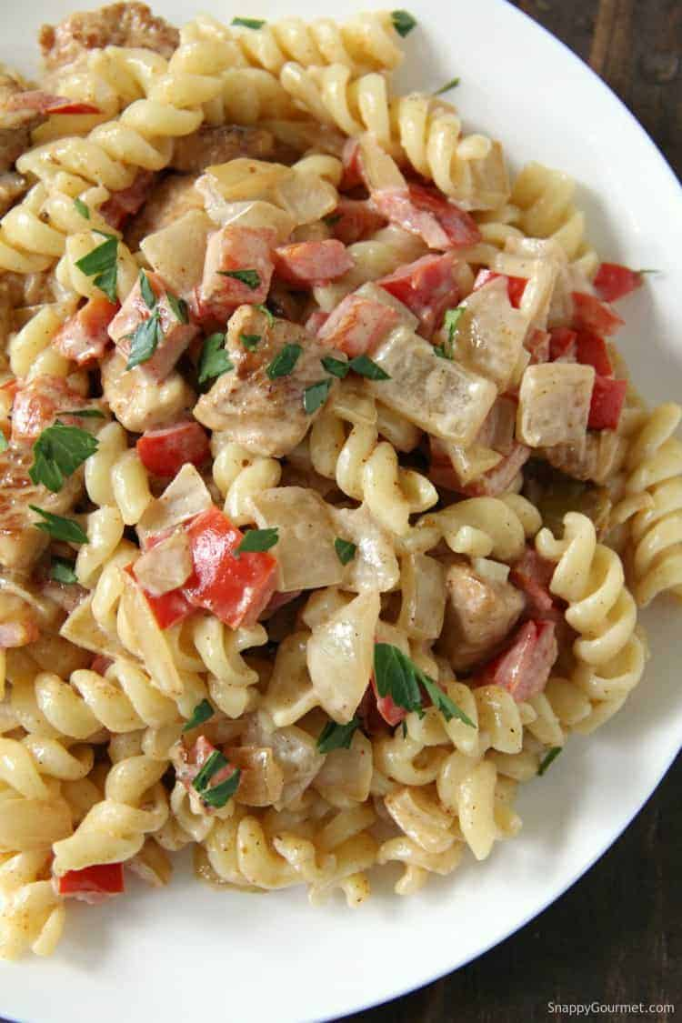 Cajun Chicken Alfredo pasta on plate