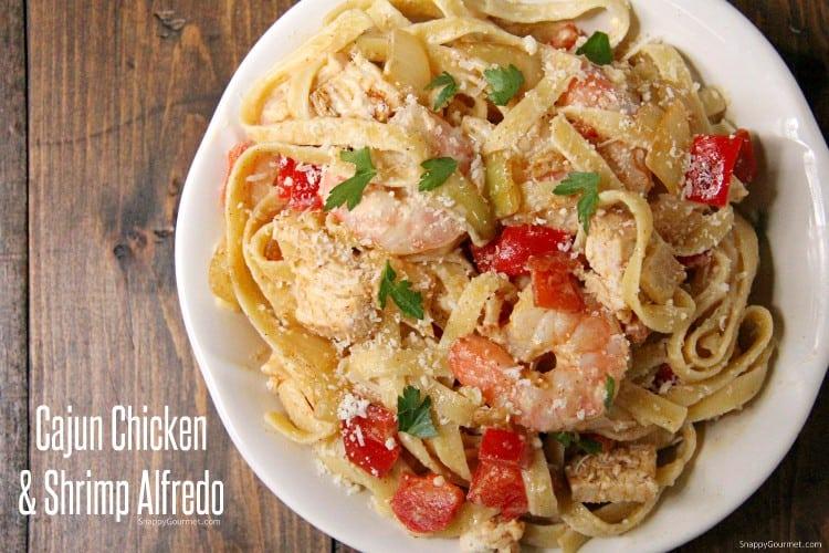 simple Cajun Chicken and Shrimp Alfredo Pasta on plate