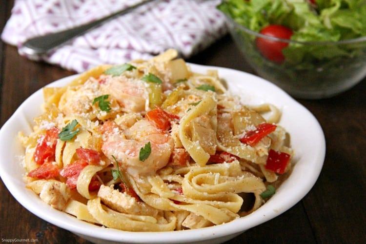 Cajun Chicken and Shrimp Alfredo Pasta with salad