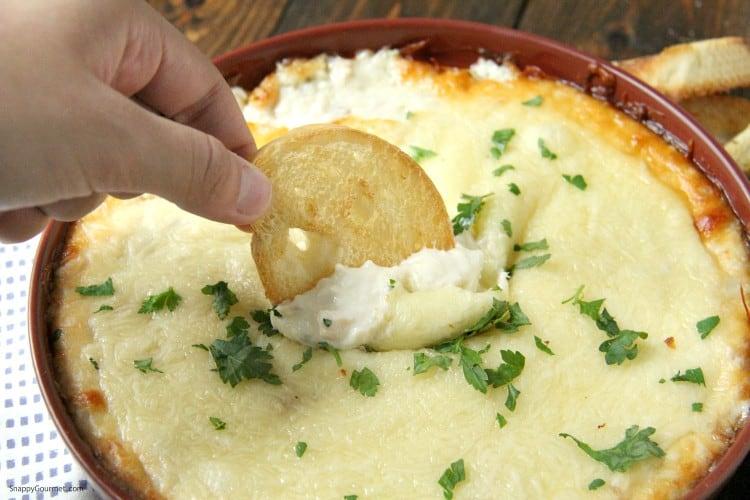 cheesy Chicken Alfredo Dip with crostini