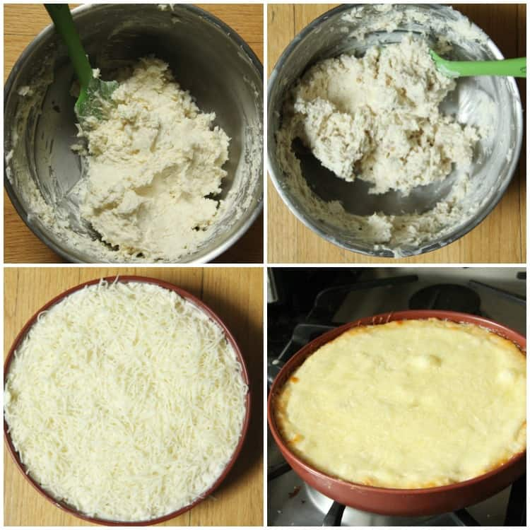 Chicken Alfredo Dip in bowl, before being baked, and after baked