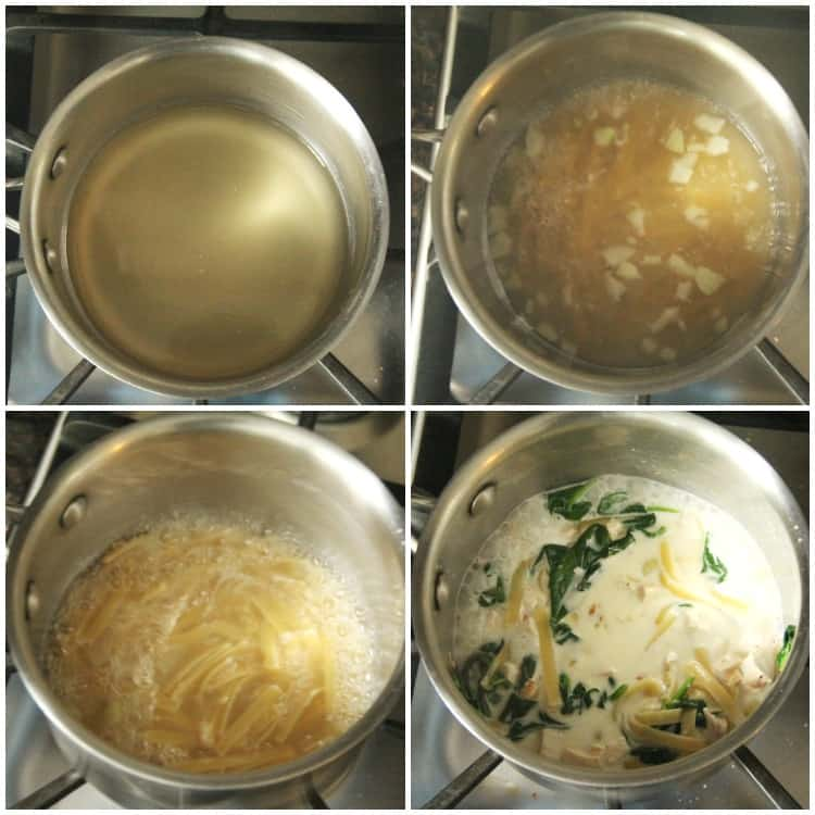 Chicken Alfredo Soup in pan
