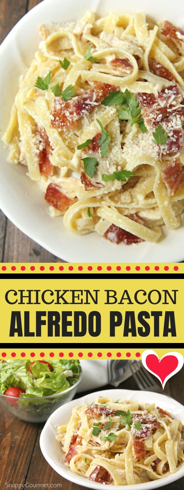 Chicken Bacon Alfredo Pasta collage