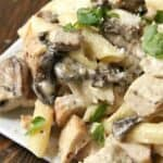 Chicken Mushroom Alfredo Pasta on plate with parsley and parmesan cheese