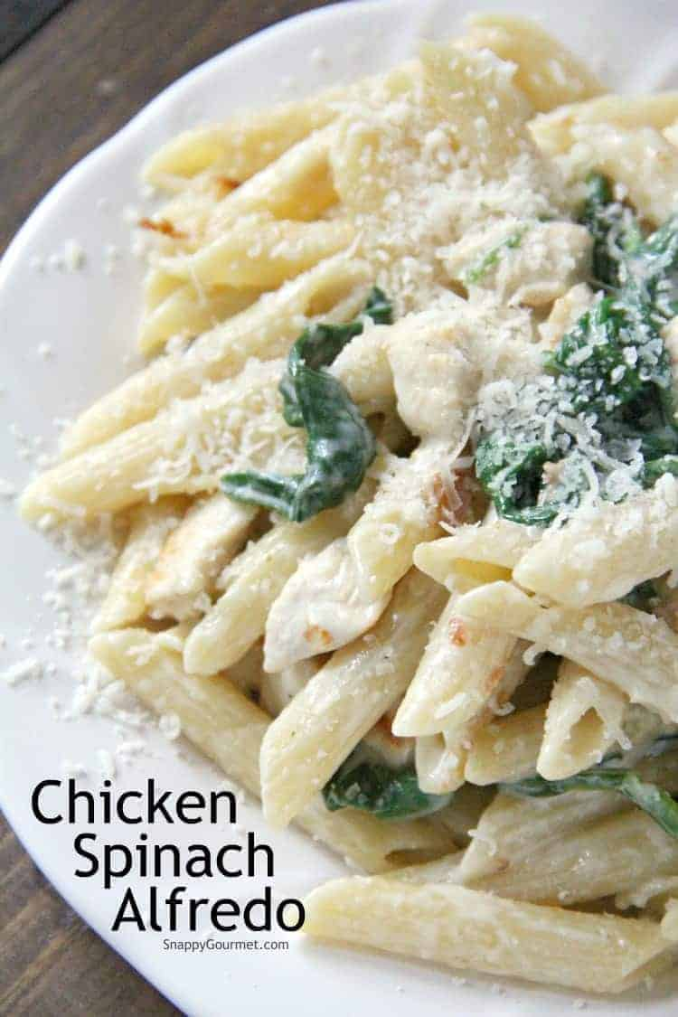 homemade Chicken Spinach Alfredo on plate