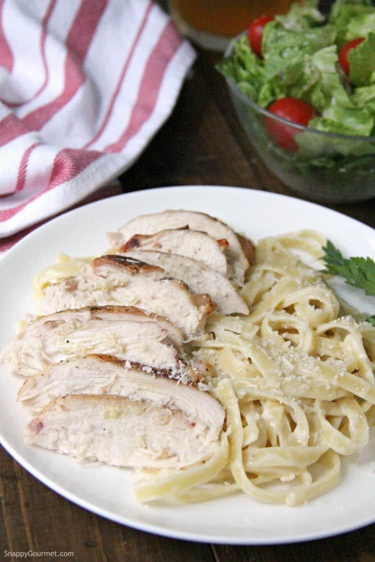 Grilled Chicken Alfredo Pasta on plate