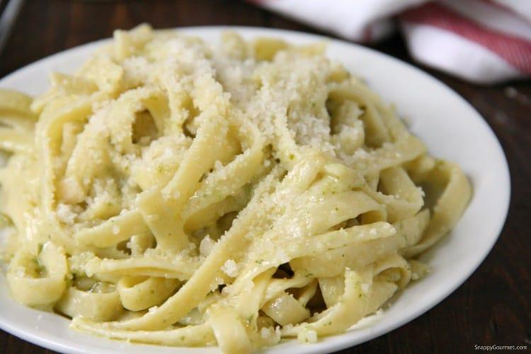 Pesto Alfredo with homemade alfredo sauce in bowl